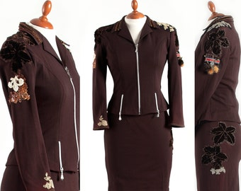Warm Chocolate Brown 2 parts Woman Suit – Skirt & Jacket – 60s Retro, 90s Vintage