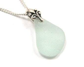 Seafoam Blue Sea Glass Pendant Necklace CLARA