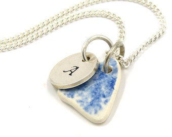 Personalised Blue and White Beach Pottery Necklace - Hand-stamped Sterling Silver for Mother, Sister, Wife, Friendship, Bridesmaid ...