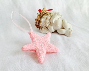 Unique Pink Star Handmade Christmas Ornament, Gift for Her, Birthday Gift, Nursery Childs Room Decoration, Pink Room Decor,Christmas in July