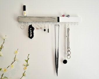 Jewelry Organizer Wall -Jewelry Holder - Wood - Modern - Minimalist - Necklace Earring Holder