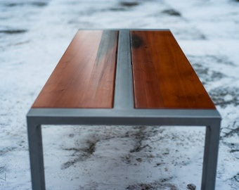 Reclaimed Redwood (softwood) Bench or Coffee Table, Steel Frame, Custom, 'Zeeva' Series