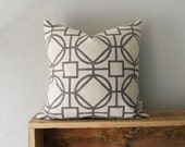 Geometric Pattern Decorative throw pillow case in 18x18 inches / 45x45 cm size | Steel grey, raw beige and cream graphic cushion cover