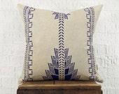Indigo Southwestern Pillow Case, Cushion Cover | Navajo, Native American Hand Printed Blue and Beige Decorative Throw Pillows | Tribal Decor