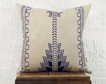 Indigo Southwestern Pillow Case, Cushion Cover | Navajo, Native American Hand Printed Blue and Beige Decorative Throw Pillows | Tribal Decor