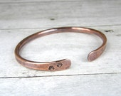 Paw Print Copper Bracelet, Hand Stamped Cuff, Hammered Bangle in Mens or Womens