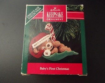 Vintage Hallmark Keepsake Ornament - 1990 - Baby's First Christmas - Child's Age Collection