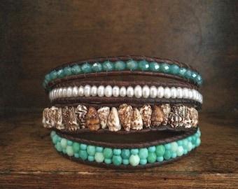 Eclectic bohemian leather 4x wrap bracelet
