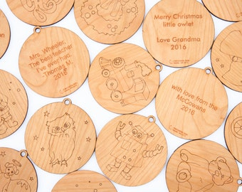three personalized ornaments // christmas ornaments // holiday decoration