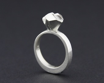 Solitaire Facet Ring: Sterling Silver Faceted Ring