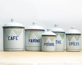 Exceptional set of 5 French enamel Kitchen Canisters set box kitchenware,with shabby chic, french tag,completed collection