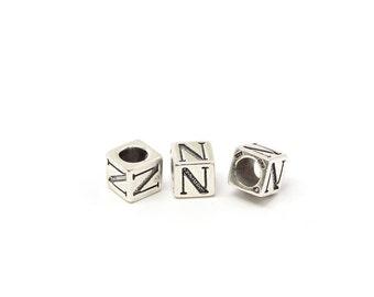 Alphabet Beads Sterling Silver 6mm Alphabet Blocks N - 1pc (3207)/1