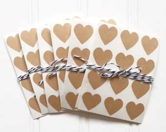 48 Kraft Heart Shaped Label Stickers (.75 inches) - Valentine's Day, Weddings, Labels, Packaging, Gift Wrap, Scrapbooking, etc.