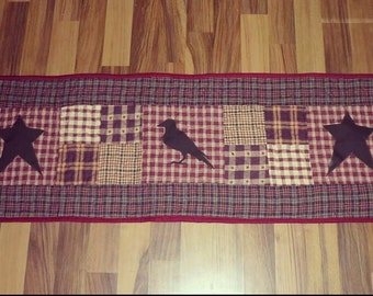 Primitive table runner with crow and stars