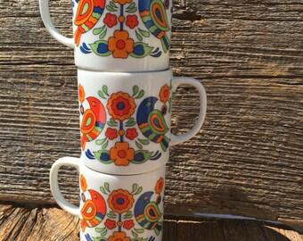 Floral Mug Set, Mid-Century Modern Mugs, Coffee Mugs