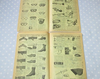 Antique French Catalog Pages Yellow Aged Paper Ephemera Bicycle Lanterns Chauffeur Double Sided - Vintage (lot T)