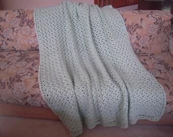 "Crocheted Handmade Full Adult Size Afghan/Blanket/Throw, Honeydew Green, 49""W x 62""L"