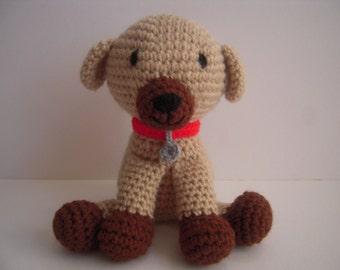 Crocheted Stuffed Amigurumi Dog with Collar and Tag