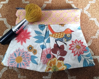 Aqua, pink, and orange pleated pouch or makeup bag