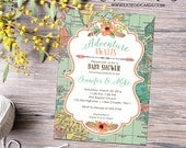 Adventure awaits baby shower invitation gender neutral reveal map rustic chic flowers burlap sip and see world mint coral 1456 diaper world