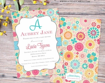 floral baby shower invitation baby girl shower monogram sip and see baby sprinkle baptism christening (item 1369) shabby chic invitation
