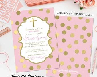 Baptism invitation girl christening baby blessing pink gold foil polka dots catholic mormon LDS any wording (item 1307) shabby chic diaper