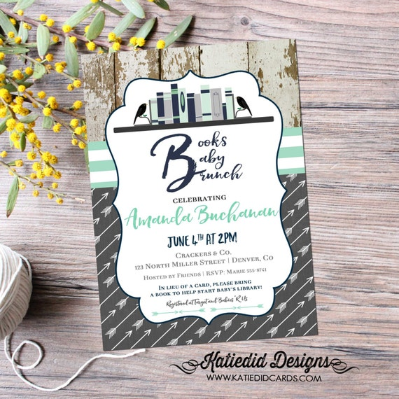 bring a book baby shower invitation tribal BOHO chic arrow sprinkle mint green navy wood rustic theme books baby brunch gray 12121 bookshelf