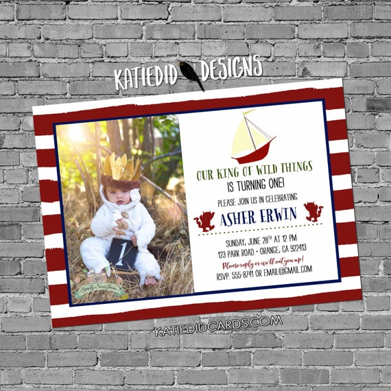 Where the wild things are invitations birthday baby boy shower invitation photo birth maroon navy stripe boat monster bash (item 292)