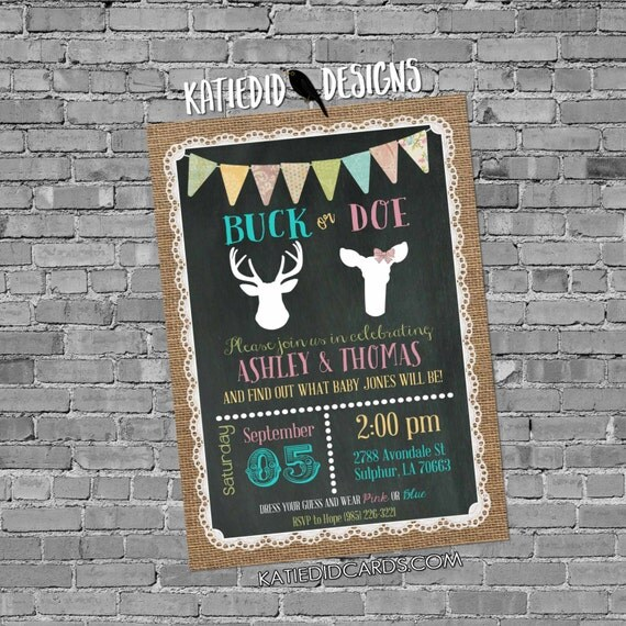 gender reveal invitation buck or doe lace cowboy burlap bunting chalkboard gender neutral baby shower deer 1471 shabby chic invitations