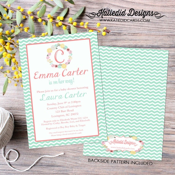 floral baby shower invitation baby girl shower monogram sip and see baby sprinkle baptism christening (item 1353) shabby chic invitations