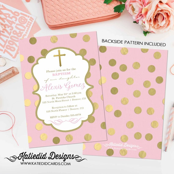first communion invitation spanish christening spanish baptism announcement pastel pink baby shower gold foil polka dot 1307 Katiedid Design
