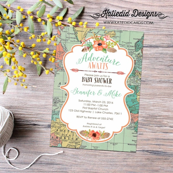 world map baby shower travel themed boho baby shower tribal invitation rustic baby girl floral chic tribal arrows 1456 Katiedid Designs