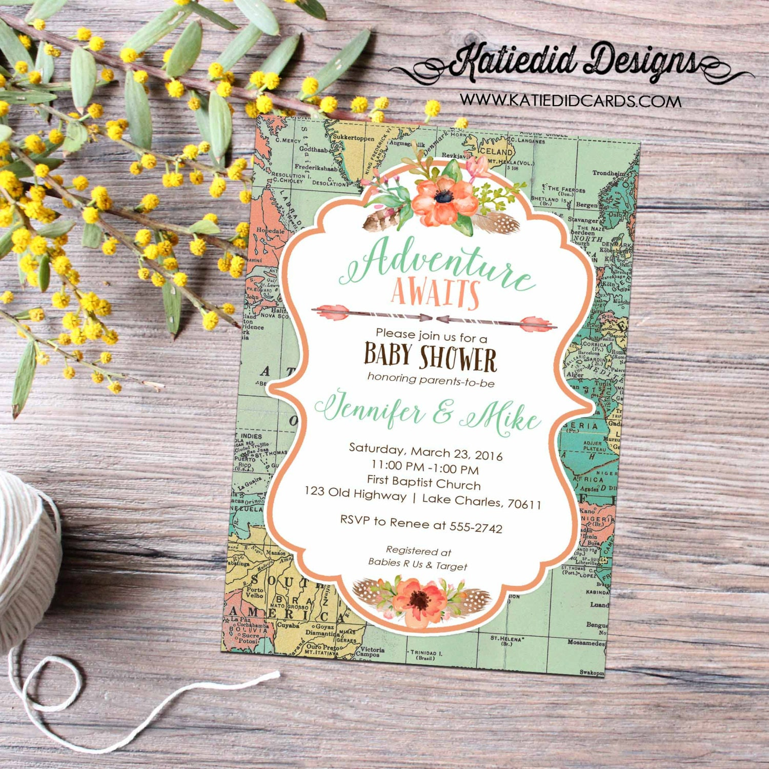 World Map Baby Shower Travel Themed Boho Tribal Invitation Rustic Girl Floral Chic Arrows 1456 Katiedid Designs
