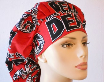 Scrub Hats Walking Dead Show Bouffant Surgical Scrub Hat - Walking Dead in Red with a Matching Headband