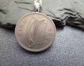 Irish Coin Necklace with Salmon,  Florin Coin, Silver Color, Jewelry from Ireland 1966 BEST SELLER