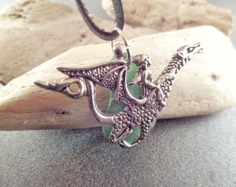 Men's Silver Dragon Necklace with Green Scottish Sea Glass on a Leather Cord, Gift for Man, Beach Jewelry