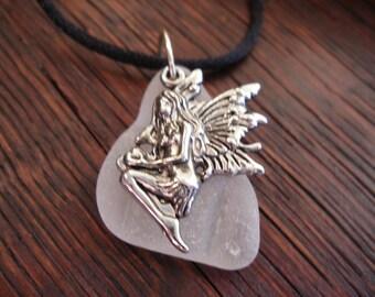 Fairy Necklace with White Scottish Sea Glass, Silk Cord Necklace, Scottish Jewelry, Long Necklace from Scotland, White Beach Glass