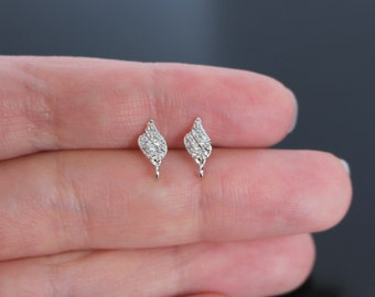 Silver Sterling Silver Small Post Drop Crystal earring post Findings, setting, 2 pc, B53676