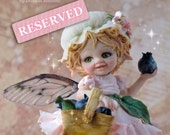 RESERVED LISTING - Blueberry Fairy - OOAK Art doll Sculpted from Polymer Clay - Pure Art Sculpture