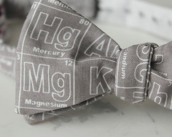 Periodic Table Elements Bow Tie in Silver Gray and White - Groomsmen and wedding tie - clip on, pre-tied with strap or self tying