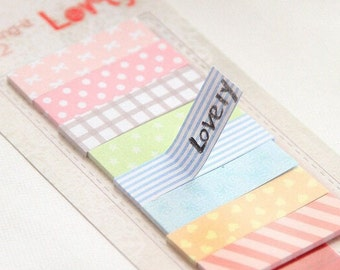 Masking Tape Lovely Cute Pastel - Post It - Memo Notes - Masking Stickers - 160 pages - Paper Stickers