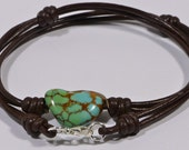 Turquoise Bead Necklace Leather Necklace Choker Necklace Gemstone Jewelry