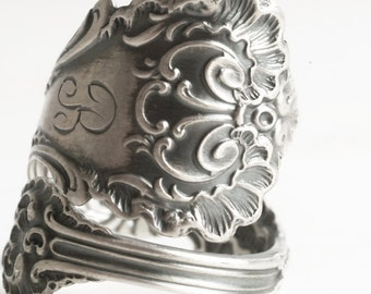 Victorian Lace Ring, Sterling Silver Spoon Ring, Silver Shell Ring, Antique Whiting Pompadour, Handmade Gift, B, Adjustable Ring Size (6203)