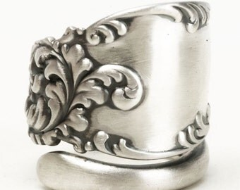 Organic Ring, Sterling Silver Spoon Ring, Victorian Ring, Ornate Ring, Fancy Elegant Ring, Antique Spoon Ring, Adjustable Ring Size (5856)