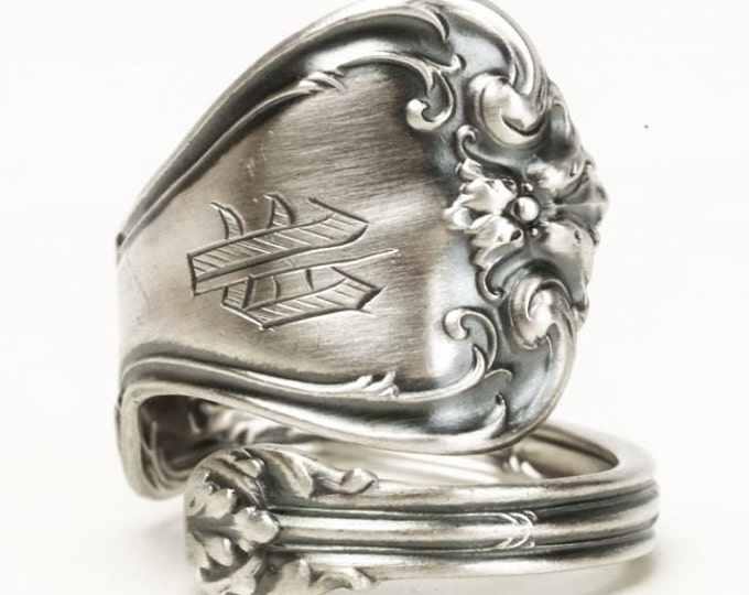 Victorian Silver Ring, Sterling Silver Spoon Ring, Victorian Ring, Whiting Silver, Antique Spoon Ring, Engraved P, Adjustable Ring (5842)