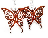 Fancy Butterfly - Wood Earrings