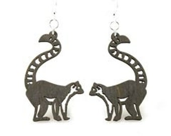 Ring-tailed lemur - Wood Earrings