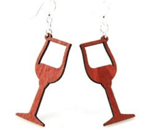 Wine Glasses - Laser Cut wood earrings