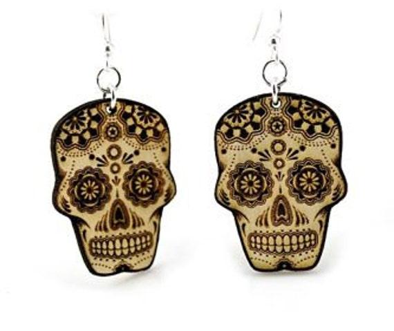 Skull - Sugar Skull - Day Of The Dead - Wood Earrings