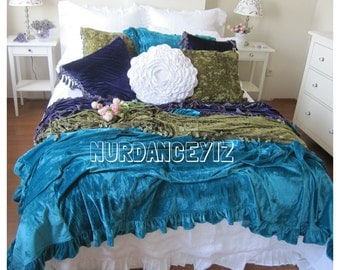 Velvet ruffled bedspread - QUEEN KING bed cover - 2016 Velvet bedding  collection pink peacock turquoise blue ivory teal green purple damson